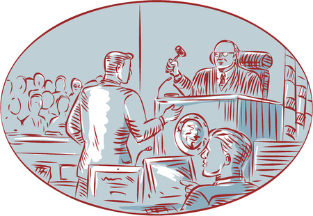 witness: illustration of a courtroom scene Illustration