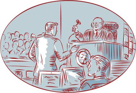 courtroom: illustration of a courtroom scene Illustration