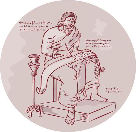 schriftrolle: Illustration mit einem Manuskript Hintergrund Illustration
