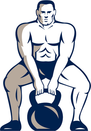 weightlifter: Illustration of a weightlifter lifting kettle bell Illustration