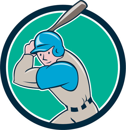 batting: Illustration of an american baseball player