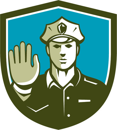 hands holding sign: Illustration of a traffic police Illustration