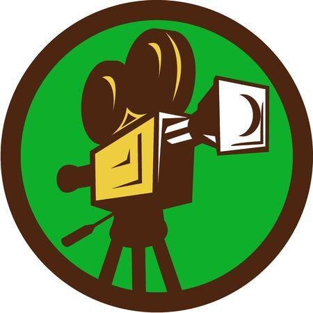 cinta pelicula: Ilustración de una película de cine de cámara de imágenes en movimiento de la vendimia
