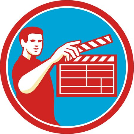 filmmaker: Illustration of a film crew with clapperboard