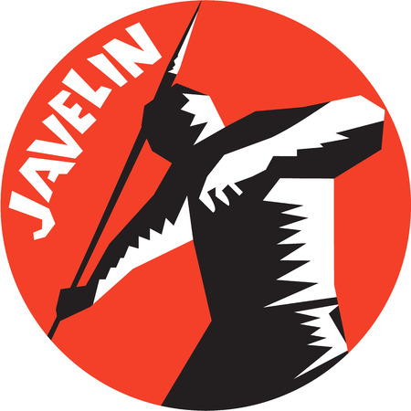 lanzamiento de jabalina: Ilustración de un atleta javelining