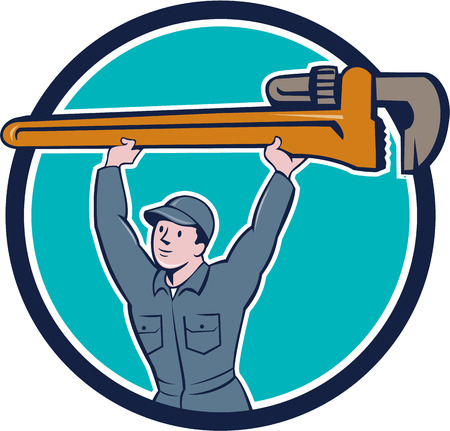 monkey wrench: Illustration of a plumber in overalls and hat lifting giant monkey wrench viewed from front set inside circle on isolated background done in cartoon style.