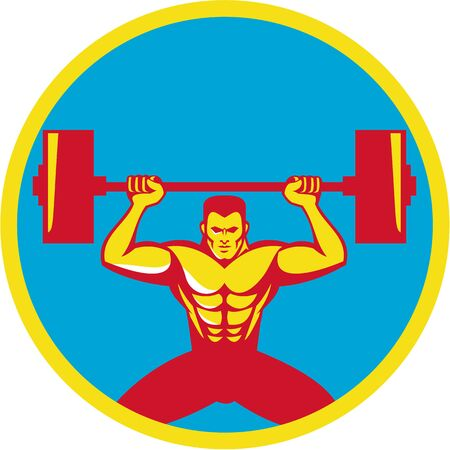 squat: Illustration of a weightlifter lifting weights viewed from front set inside circle on isolated background done in retro style. Illustration