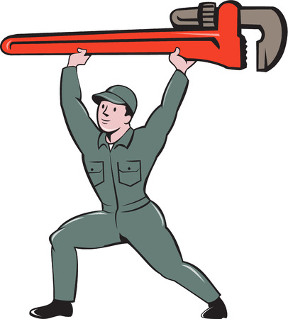 monkey wrench: Illustration of a plumber in overalls and hat lifting giant monkey wrench viewed from front set on isolated white background done in cartoon style.