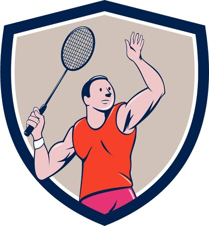 striking: Illustration of a badminton player with racquet smashing striking set inside shield crest on isolated background done in cartoon style.