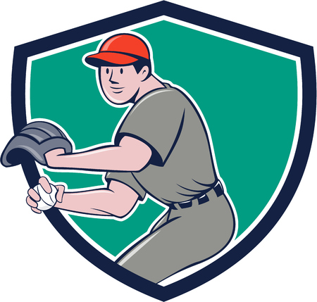 pitching: Illustration of a american baseball player pitcher outfilelder throwing ball set inside shield crest on isolated background done in cartoon style.
