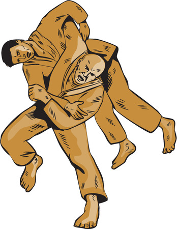 judo: Etching engraving handmade style illustration of judo judoka combatant throwing takedown an opponent set on isolated white background viewed from front. Illustration