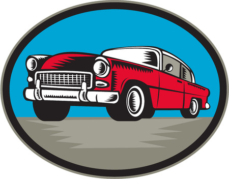 coupe: Illustration of a vintage classic car viewed from low angle set inside oval shape done in retro woodcut style.