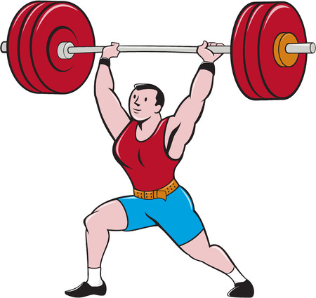Illustration of a weightlifter lifting barbell weights set on isolated white background done in cartoon style.