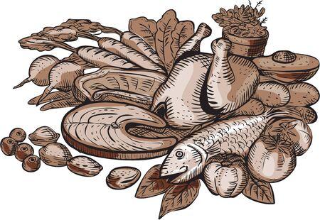 carnes y verduras: Ilustraci�n de estilo artesanal de grabado Grabado de una dieta nutrici�n paleo t�pica que muestra las prote�nas magras, alimentadas con pasto carnes, frutas, nueces y vegetales que figuran en el fondo blanco aislado.