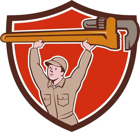 monkey wrench: Illustration of a plumber in overalls and hat lifting giant monkey wrench viewed from front set inside shield crest on isolated background done in cartoon style. Illustration
