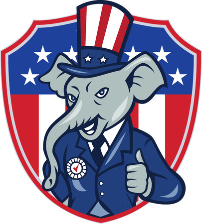 Illustration of a republican elephant mascot of the republican party wearing hat and suit showing thumbs up set inside shield with usa american stars and stripes in the background done in cartoon style.