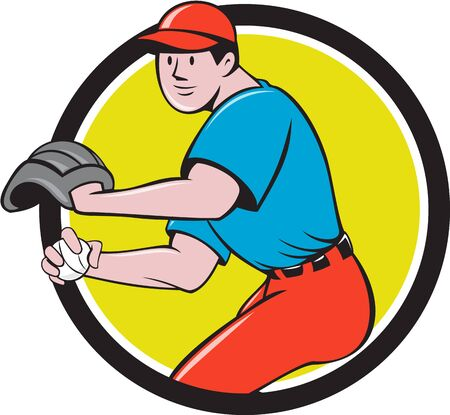 outfielder: Illustration of a american baseball player pitcher outfilelder throwing ball set inside circle on isolated background done in cartoon style.