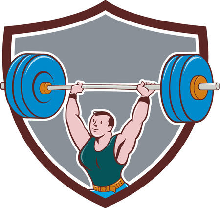 Illustration of a weightlifter lifting barbell weights set inside shield crest on isolated background done in cartoon style.