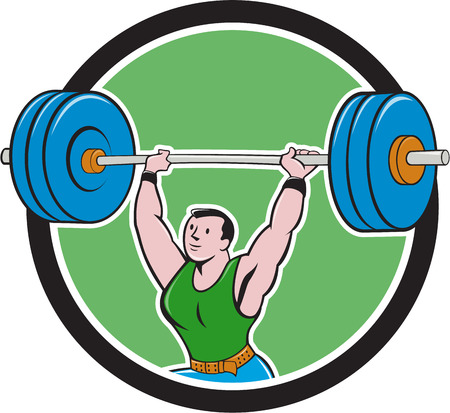Illustration of a weightlifter lifting barbell weights set inside circle on isolated background done in cartoon style.