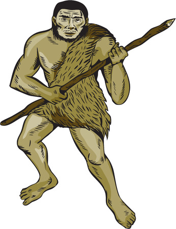 neanderthal man: Etching engraving handmade style illustration of a neanderthal man holding spear facing front on isolated white background.
