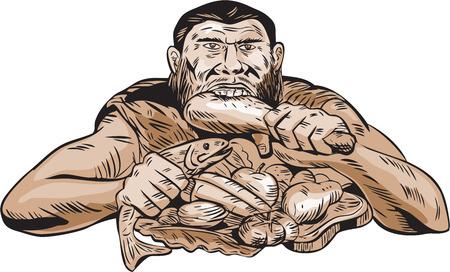 격리 된 흰색 배경에 정면에서 본 살코기, 닭고기, 생선, 과일과 야채로 구성된 팔 레오 식단을 먹는 neaderthal 사람의 에칭 조각 핸드 메이드 스타일의