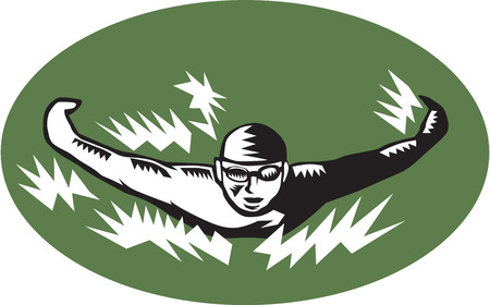 swimming cap: Illustration of a swimmer doing butterfly stroke swimming viewed from front set inside oval shape done in retro woodcut style.