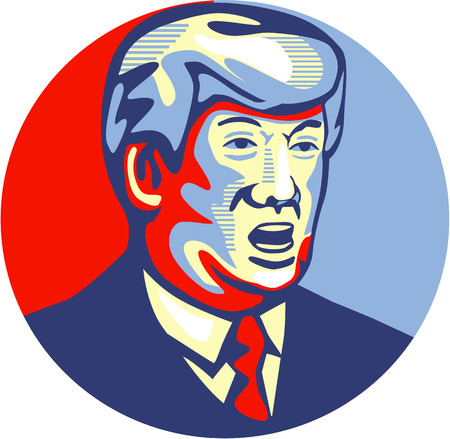 Illustration showing American real estate magnate, television personality, politician and Republican 2016 presidential candidate Donald John Trump set inside circle isolated background done in retro style. Redactioneel