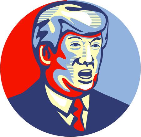Illustratie van de Amerikaanse onroerend goed magnaat, tv-persoonlijkheid, politicus en Republikeinse 2016 presidentskandidaat John Donald Trump set binnen cirkel geïsoleerde achtergrond gedaan in retro stijl.