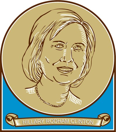 line drawing: Illustration showing Democrat presidential candidate Hillary Clinton set inside circle with scroll or ribbon underneath showing her name on isolated background done in line drawing style.