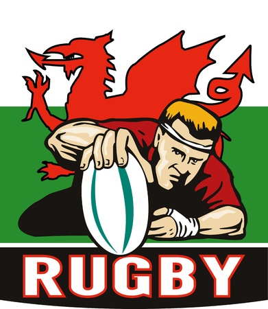 welsh flag: illustrazione di un giocatore di Rugby segnando prova visto dalla parte anteriore con il Galles o gallese bandiera in background e le parole rugby