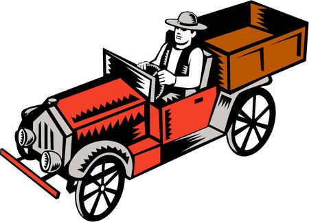 camioneta pick up: Ilustraci�n de una camioneta pick-up vintage cl�sico con chofer visto desde el �ngulo alto situado en el fondo blanco aislado hecho en estilo retro grabado en madera.