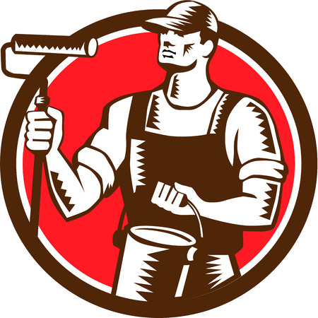 house painter: Illustration of a house painter holding paint roller and paint can looking to the side set inside circle on isolated background done in retro woodcut style. Illustration