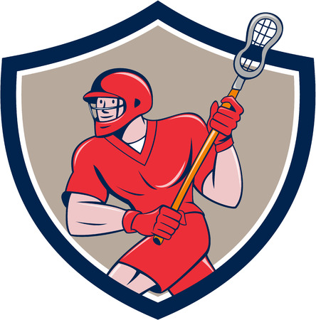 crosse: Illustration of a lacrosse player holding a crosse or lacrosse stick running viewed side from set inside shield crest on isolated background done in cartoon style.