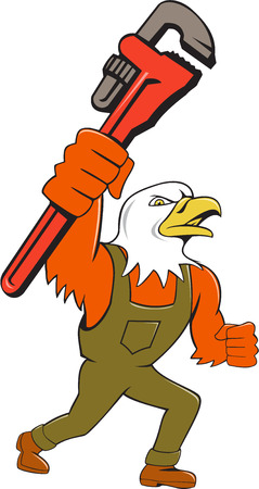 american bald eagle: Illustration of an american bald eagle plumber holding monkey wrench looking to the side set on isolated white background done in cartoon style.