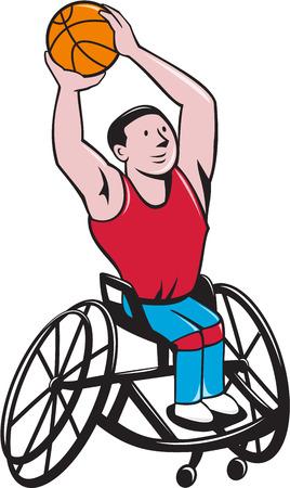 persona en silla de ruedas: Ilustración de una pelota de baloncesto en silla de ruedas jugador tiroteo visto de frente fijó en el fondo blanco aislado hecho en estilo de dibujos animados. Vectores