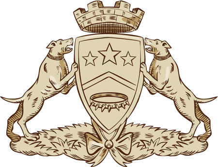 supporting: Etching engraving handmade style illustration of a heraldic design of coat of arms showing two pitbulls on each side supporting the shield with three stars and dog collar and a brick crown ,rook or tower above it.