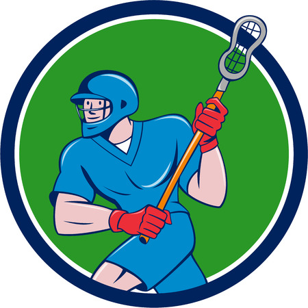 lacrosse: Illustration of a lacrosse player holding a crosse or lacrosse stick running viewed side from set inside circle on isolated background done in cartoon style.