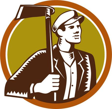 paysagiste: Illustration de mâle jardinier paysagiste horticulteur tenant grub hoe regardant de côté mettre l'intérieur du cercle sur fond isolé fait dans le style de gravure sur bois rétro. Illustration