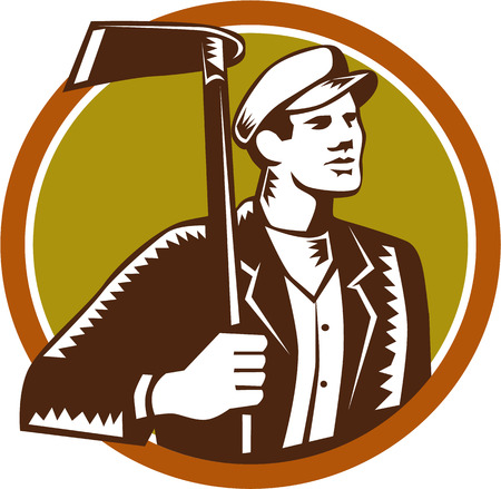 grub: Illustration of male gardener landscaper horticulturist holding grub hoe looking to the side set inside circle on isolated background done in retro woodcut style.