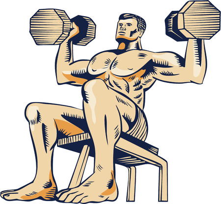 intensity: Etching engraving handmade style illustration of an athlete performing high intensity interval training lifting dumbbell viewed from front on low angle.
