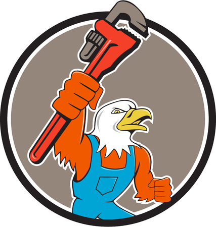 american bald eagle: Illustration of an american bald eagle plumber holding monkey wrench looking to the side set inside circle done in cartoon style.