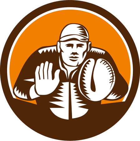 baseball catcher: Illustration of a baseball catcher with gloves facing front set inside circle on isolated background done in retro woodcut style.