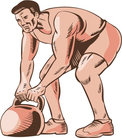 intensity: Etching engraving handmade style illustration of an athlete performing high intensity interval training lifting a kettlebell viewed from side.