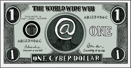 which one: Etching engraving handmade style illustration of a play money for the world wide web or internet which shows a note of one cyber dollar.