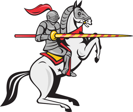 Cartoon style illustration of a knight in full armor holding lance riding horse steed prancing viewed from the side set on isolated white background.
