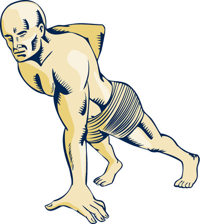 intensity: Etching engraving handmade style illustration of an athlete performing high intensity interval training doing the one-hand push-up viewed from side.