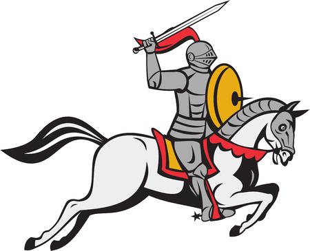 Cartoon stijl illustratie van een ridder in volle wapenrusting bedrijf zwaard op één hand boven het hoofd en afscherming aan de andere kant rijpaard steed aanvallen van de zij die op geïsoleerde witte achtergrond kant.