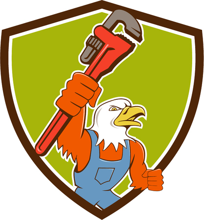 american bald eagle: Illustration of an american bald eagle plumber holding monkey wrench looking to the side set inside shield crest done in cartoon style. Illustration