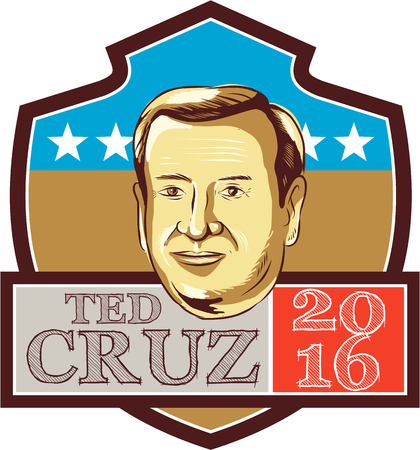 ted: Illustration showing Rafael Edward Ted Cruz, an American senator, politician and Republican 2016 presidential candidate set inside crest shield with words Ted Cruz 2016 done in retro style. Editorial