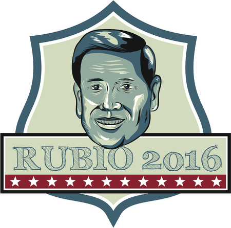 senator: Illustration showing Marco Rubio, an American senator, politician and Republican 2016 presidential candidate set inside shield crest with words Rubio 2016 done in retro style.
